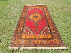 Vintage Turkish area rug Anatolian carpet