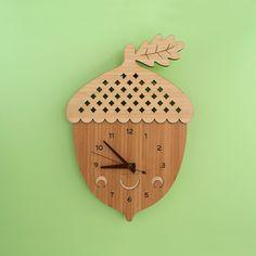 Happy Acorn Clock: Wood Bamboo Acorn Clock by graphicspaceswood