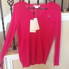 Lacoste Classic V neck sweater In hot pink Lacoste Sweaters V-Necks