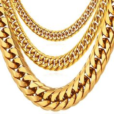 #BestPrice #Fashion U7 Miami Cuban Chains For Men Hip Hop Jewelry Wholesale Gold Color Thick Stainless Steel Long Big Chunky Necklace Gift…