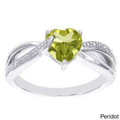 H Star Sterling Silver Heart Birthstone Diamond Accent Ring (I-J, I2-I3) (Peridot Size 5), Adult Unisex, Green