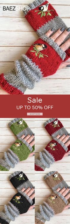 Casual Basic Flora Knitted Gloves - Knitting For Kids Knitting For Kids, Sewing For Kids, Diy For Kids, Knit Mittens, Knitted Gloves, Fingerless Gloves, Yarn Crafts, Sewing Crafts, Knitting Patterns