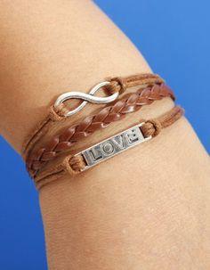 Silver Infinity Bracelet Love Bracelet Brown Wax by prettybracelet, $3.99