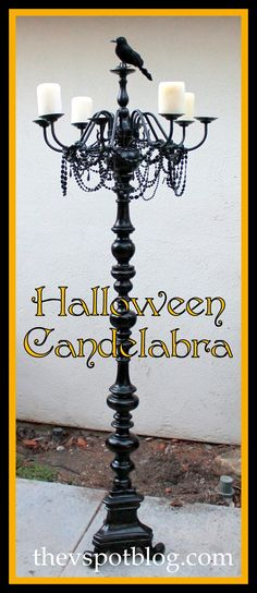 Take an old chandelier, an old floor lamp and some black spray paint and you'll have a spooky floor candelabra, just in time for Halloween.