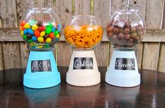 gumball machine candy jars... upside down planters/ metal or chalk tags/ glass bowls.