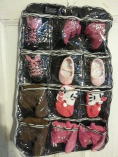 Hang baby shoes to save space in a Clever Container Stocking Stuffer!  mycleverbiz.com/melissacallender