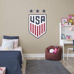US Soccer Women's National Team Creset Fathead Girl Bedroom Walls, Bedroom Themes, Girl Room, Bedroom Ideas, Dream Bedroom, Boys Soccer Bedroom, Soccer Room Decor, Girls Soccer, Soccer Stuff