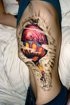 woman hot air balloon tattoo - from Circa Survive album art  i love this picture!