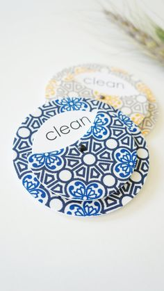 Blue Scroll Clean Dirty Dishwasher Magnet - Sign Home Decor Entertaining Kitchen Foodie Elegant Stainless Steel Nautical Unisex Ironwork