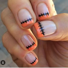 Stitched-Up French 14 Scarily Easy Halloween Nail Art Ideas The post Stitched-Up French appeared first on Halloween Nails. Nail Art Cute, Easy Nail Art, Cute Nails, Pretty Nails, Nail Art Diy, Cute Halloween Nails, Halloween Nail Designs, Creepy Halloween, Halloween Costumes