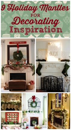 9 Holiday Mantles for Decorating Inspiration - this is a great roundup of mantles for Christmas! Love this!