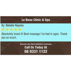 Absolutely loved it! Best massage I've had in ages. Thank you so much.