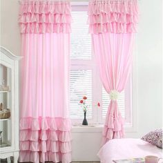 Pink Ruffle Curtain Panel by LovelyDecor on Etsy