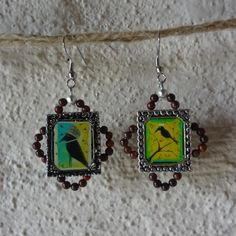 EaRRINGS TwO CrOWS ORIGInAL ARTWoRK CHARmS BEAdED by janazjunque, $30.00