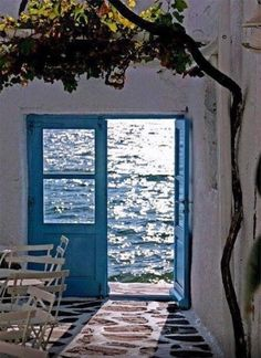 all the beauty things. Greek Blue, Beautiful Places, Beautiful Pictures, Cottages By The Sea, Window View, Through The Window, Greek Islands, Doorway, Mykonos