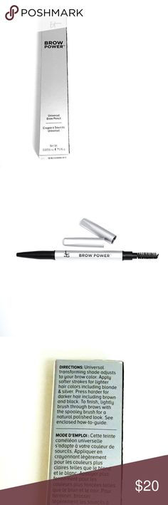 It Cosmetics Universal Brow Pencil It Cosmetics Universal Brow Pencil || Brand New || Full Size  A universal, transforming long-wear eyebrow pencil infused with cutting-edge brow enhancing ingredients and technology. The oval shaped tip is perfect for both thin and thick brows. The spooly end brush gives a natural polished look. Brow Power Universal Eyebrow Pencil matches all hair colors and covers gray perfectly. Full brow lift guide included with each pencil. It Cosmetics Makeup Eyebrow…