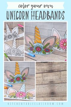 Color your own unicorn headband with these two free unicorn printables. Diy Unicorn Headband, Headband Crafts, Diy Birthday Headband, Unicorn Themed Birthday Party, Birthday Crafts, Unicorn Birthday Cards, Art Birthday, Craft Projects For Kids, Diy For Kids