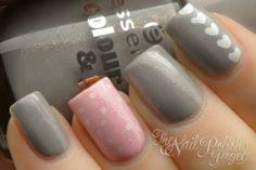 pink & gray nail art design with hearts