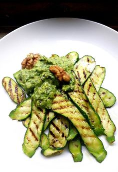 Feta, Blue Cheese, Herb & Toasted-Walnut Pesto with Griddled Courgettes (recipe below). One of the things I miss most on my low-carb r. Banting Diet, Banting Recipes, Paleo Recipes, Low Carb Recipes, Cooking Recipes, Sin Gluten, Clean Eating, Healthy Eating, Healthy Meals