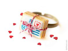 Love Letter Cookies Ring  Food Jewelry  OOAK by dollfoodminiatures, $38.00