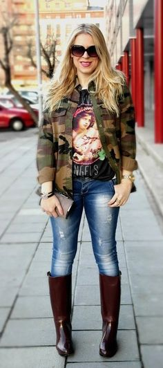 riding boots and skinny jeans outfit ideas | FabFashionFix - Fabulous Fashion Fix | Style Guide: How to wear Army ...