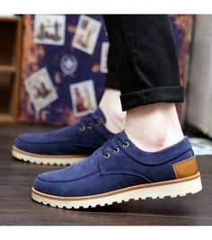 Men's #blue casual lace up leather #DressShoes winter style, sewing thread design, round toe design, casual occasions.