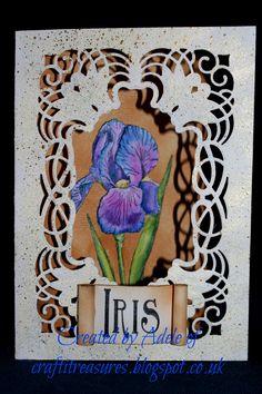 Spellbinder's Cascading Grace die with Sheena Douglass Iris stamp.