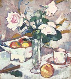 Still Life with Roses and Fan, Samuel John Peploe