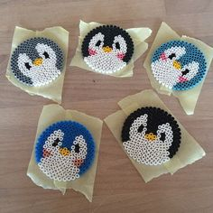 Penguin coasters hama beads by frudk