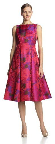 Adrianna Papell Women's Sleeveless Tea-Length Dress