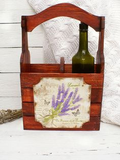 Lavender Wine WoodenTote  Wine Carrier Wine by Alenahandmade, $45.00