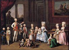 Retrato de familia de Leopoldo, Gran duque de Toscana, y su esposa Isabel de España