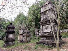 Stupas, where contain ashes of deceased monks in Phat Tich pagoda, Vietnam.