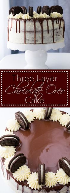 Three Layer Chocolate Oreo Cake Three layers of the best chocolate cake sandwiching Oreo Buttercream. An extra layer of Vanilla Creme frosting coats the outside and garnishes the top along with a Chocolate Ganache Drip. Chocolate Oreo Cake, Chocolate Recipes, Nutella Cake, Chocolate Frosting, Oreo Cake Recipes, Dessert Recipes, Cupcakes, Cupcake Cakes, Food Cakes