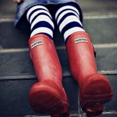 From the #HunterBoots community.  @Orevants shows us how to wear a bold stripe with the Original red boot.