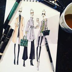 It's #Monday therefore a three cup minimum☕️☕️☕️#coffee#fashion#fashionsketch#fashionillustration#fashionillustrator#sketch#sketchbook#draw#art#artist#illustrator#marker#☕