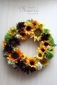 naori+florist | Sunflower wreath ひまわりのリース artificial flower 20130607