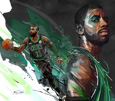 My painting of the famous player of the Boston Celtics, Kyrie Irving.