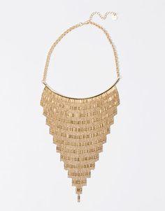 Bershka geometric fringed ethnic necklace