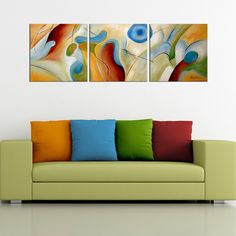 <li>Title: Hand-painted Abstract</li> <li>Product type: Gallery-wrapped canvas art set</li> <li>Image dimensions: 24 inches high x 72 inches wide</li>
