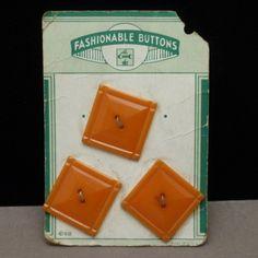 Lot of 4 Vintage Buttons Pumpkin Orange Color Plastic Original Card | eBay