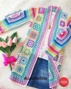 Crochet Mandala Pattern, Crochet Coat, Crochet Cardigan Pattern, Granny Square Crochet Pattern, Crochet Jacket, Crochet Granny, Crochet Clothes, Crochet Stitches, Crochet Patterns