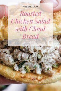 This meal prep recipe will make you eager for lunchtime at work or school. The chicken salad is juicy, crunchy, and loaded with flavor. The cloud bread is light and airy and makes the perfect sandwich for the salad. #cooking #cookingram #cookingtime #cookingclass #cookingvideo #cookingatHome #cookingwithlove #cookingschool #cookingmama #cookingforfamilyandfriends