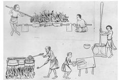Serfs cooking for their master, depicted in a 14th century manuscript. (Hulton Archive/Getty Images)