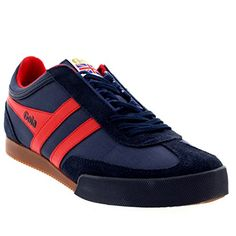 Mens Gola Super Harrier Retro Casual Active Suede Lace Up Sports Sneaker - Navy/Red - 10