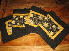 Quilted Christmas Tablerunner, Black and Gold Snowflakes, Pine Cone Runner, Holiday Table Decor, Reversible by TahoeQuilts on Etsy