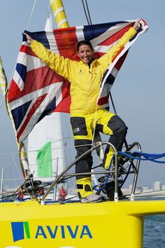 Dee Caffari (UK) finishing her solo navigation of the world against the winds and currents.