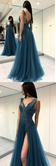 Blue See Through Split Backless Lace Appliques Tulle Long Prom Dress with Beading OKB27 #blue #tulle #long #vneck #prom #appliques #okdresses
