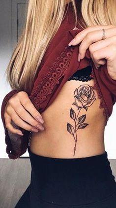 Black Rose Outline Rib Tattoo Ideas for Women - Beautiful Floral Flower Side Tat - www.MyBodiArt.com #tattoos