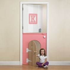 "Childs Mini-Door in Pink from PoshTots - I absolutely LOVE this for Talia but the website says, ""call for pricing"" Lord, have mercy! How much does this cost?! Can I make it?????? Maybe …"
